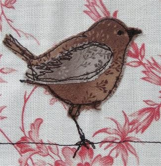 Bird applique- like the way this looks like a pen and ink drawing.
