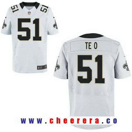 Men's New Orleans Saints #51 Manti Te'o White Road Stitched NFL Nike Elite Jersey
