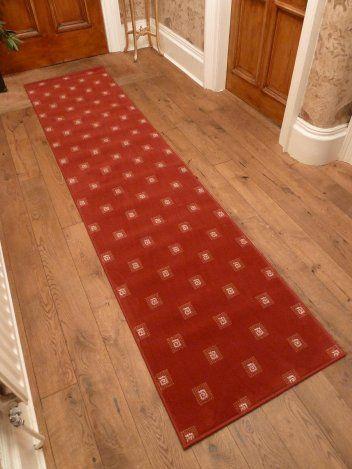 square red hallway carpet runner