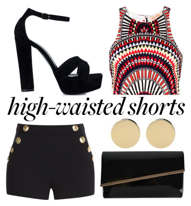 Black, Red & Gold by alexfreyberg on Polyvore featuring polyvore, fashion, style, Mara Hoffman, Boutique Moschino, Nly Shoes, Moda In Pelle, clothing and highwaistedshorts