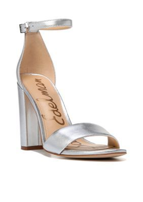 277f8b1339a Sam Edelman Women s Yaro Ankle Strap Block Heels - Silver - 5.5M
