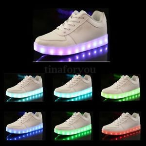 Homme Femme Fluorescent Couples LED Light USB Trainer Casual Sneakers Unisex | eBay