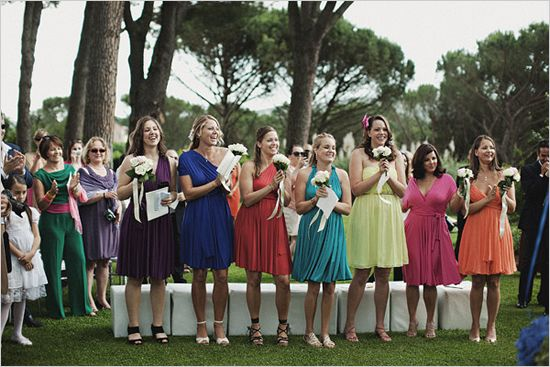 rainbow bridesmaid Love these silhouettes!!!! Same skirt different top! LOVE