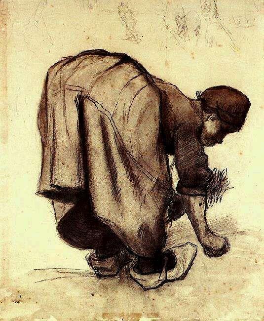 Vincent van Gogh: Peasant Woman Bending Over  Nuenen: July, 1885 (Otterlo, Kröller-Müller Museum)