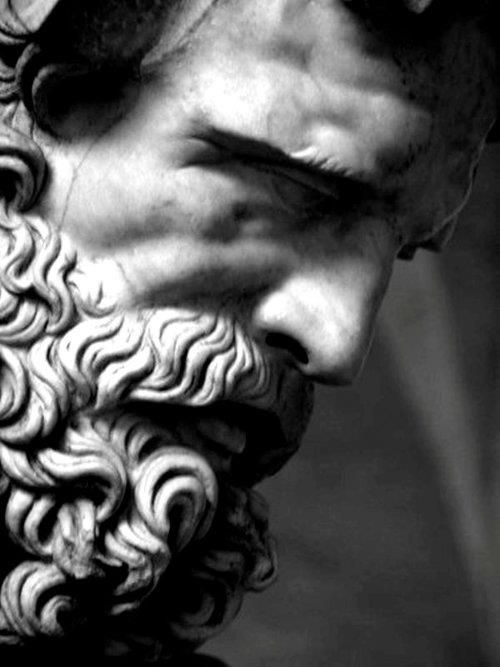 Detail of a Roman statue of Seleinos (Silenus) | Roman copy of a Greek original (original from circa 340-320 BCE) | Collection of the Glyptothek Munich Germany | Photo by Giopuo