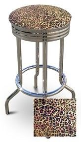 "New 29"" Tall Chrome Metal Finish Swivel Seat Bar Stools with Cheetah Print Seat Cushions!"
