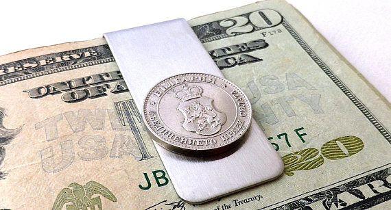Antique Bulgarian coin money clip  Unity makes strength
