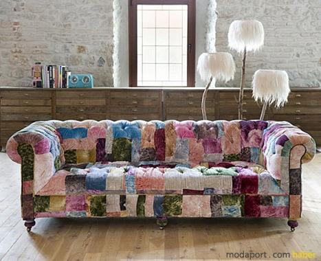 velvet patchwork couch