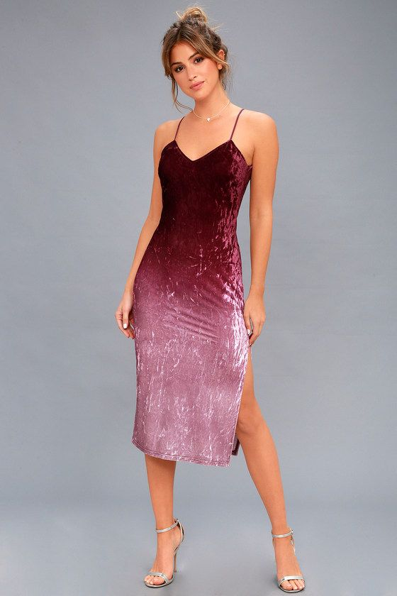Lulus Exclusive! Mirror the beauty of the setting sun in the Sunset Skyline Burgundy Ombre Velvet Midi Dress! Soft and stretchy crushed velvet fades from burgundy to mauve pink across this bodycon dress. Elastic, skinny straps support a darted triangle bodice with a deep V-back. Midi skirt with sexy side slit.