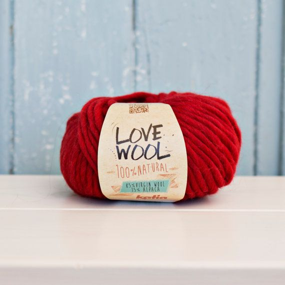 Love wool Yarn Wool & Alpaca red by Soulmadehome on Etsy