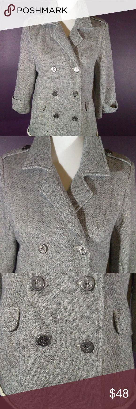 Darling Vintage cabi Spring 2013 Shrunken Peacoat A must have vintage lightweight cabi Shrunken Peacoat #393 ♥ EUC, worn once! This jacket is so versatile - pair with jeans, shorts, skirts or dresses. Super soft cotton jacket has unfinished hem, 3/4 sleeve, double breast style with anchor graphic buttons! Hard to find size, grab it up!   Fabric: 79% Cotton - 21% Poly  Garment Care: Machine Wash - Flat to Dry  ♥ Please visit my closet again soon - lots of excellent deals on minty condition…