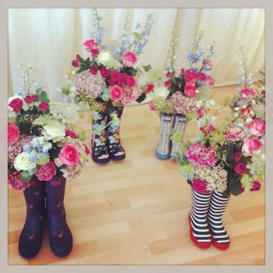 These Joules wellie boots would make fabulous centre pieces at a rustic wedding! They'd go well with some colourful bunting to add to the fun outdoor feel of your celebration. Browse the bunting options at: www.nessafoye.etsy.com