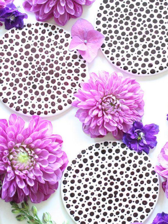 Polka dot Clay Coasters  Purple Round Drink Coasters by Mahalolena