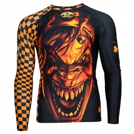 Longsleeve rashguard NIGHTMARE. Color: orange. Excellent quality rashguard HOBBY EXTREME is ideal for hard training people who appreciate the highest class of products. Made of high quality material, which, thanks to its flexibility, clings to the body. Sophisticated thermoregulation system by which the body is dry and the muscles warmed up. Sublimated logos (will not scratch).