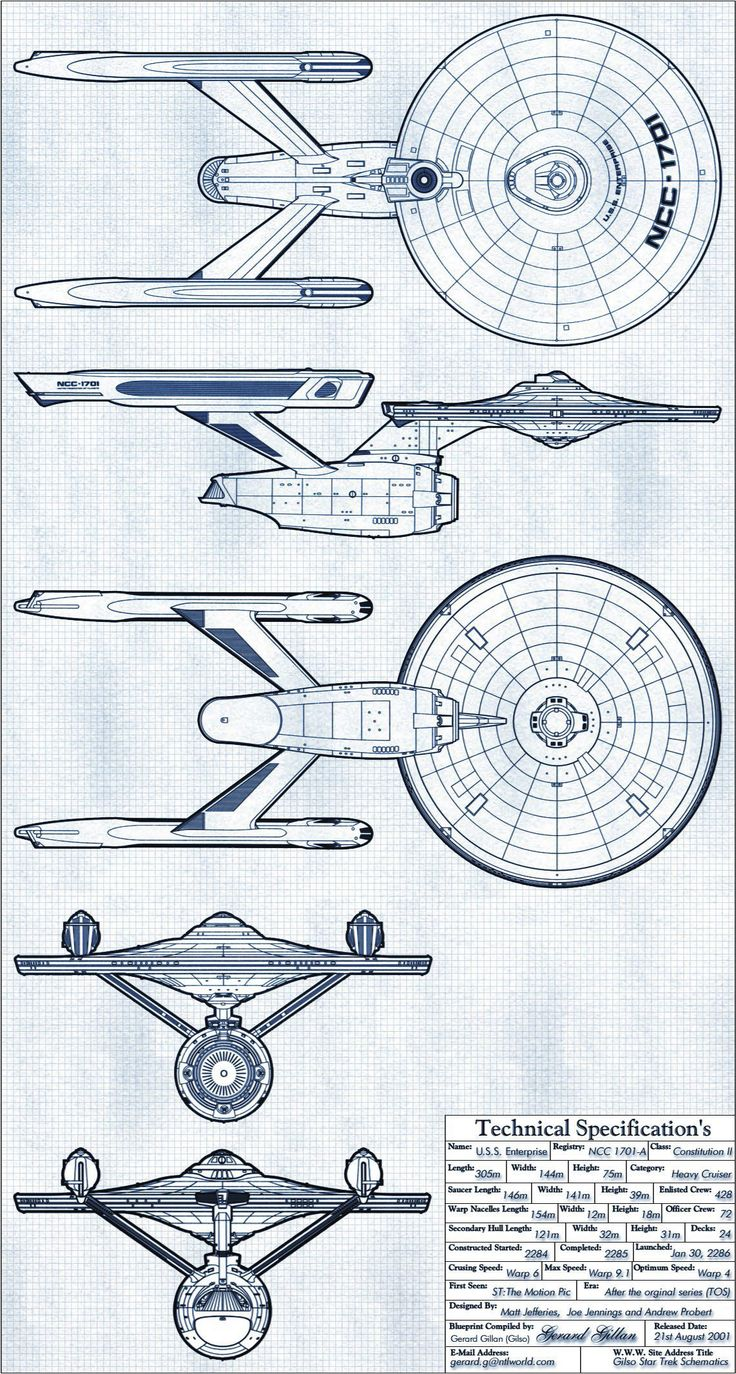 USS Enterprise - NCC-1701-A (Formerly USS Yorktown - NCC-1704) Constitution II Class: Multiple Views