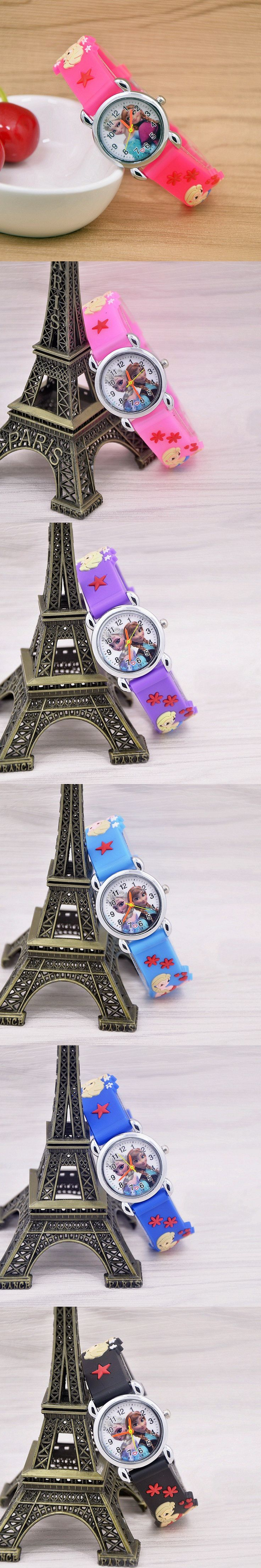 2016 New relojes Cartoon Children Watch Princess Elsa Anna Watches Fashion Kids Cute relogio quartz WristWatch Girl Gift $1.89