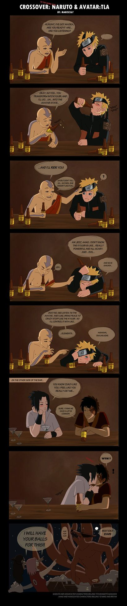 Crossover: Naruto and ATLA by ~Marise567 on deviantART Aang: I have an Idea... Naruto: I don't know... haha this made me laugh:o)