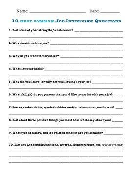 10 most common job interview questions Common job
