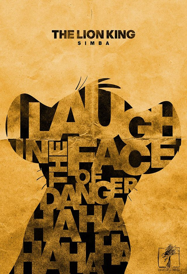 """Laugh in the face of danger"" Typographic 'Lion King' Art Prints"