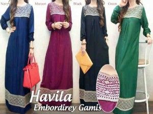 Busana muslim maxi dress modern havila gamis