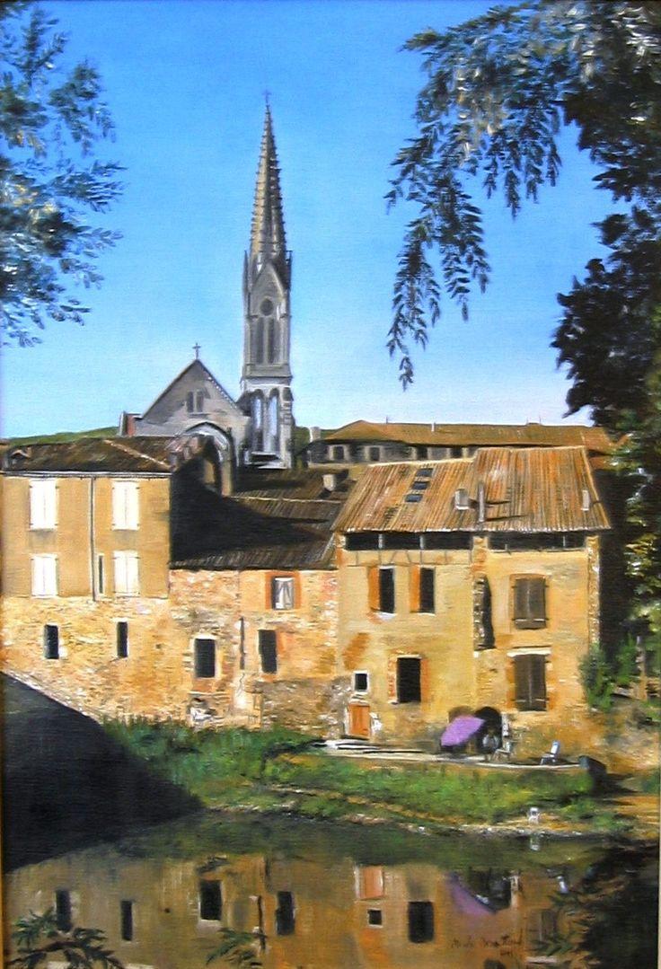 Saint Antonin Noble Val - huile sur toile