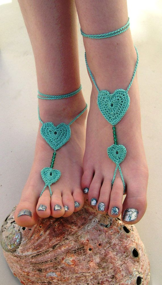 Mint Barefoot sandals  Crocheted Heart Anklet  by MaryKCreation