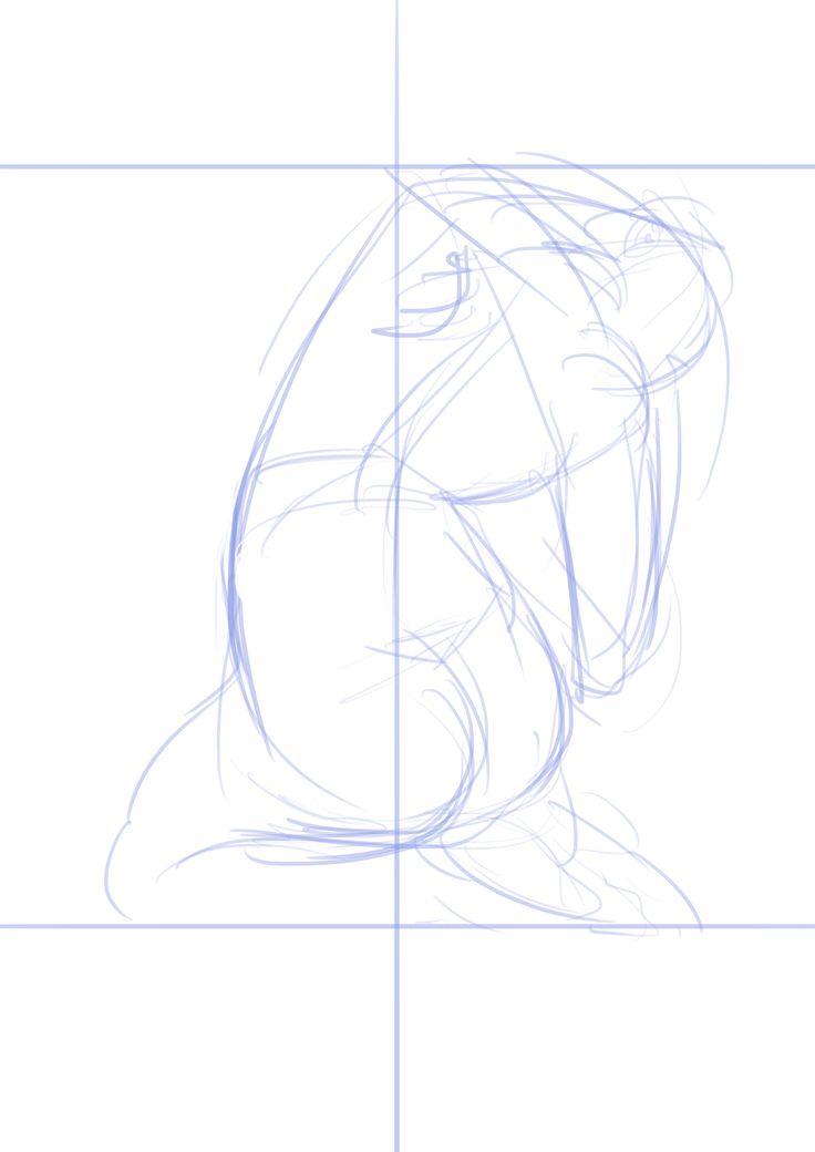 디지털작업. 구체적인 스케치 위에 추상적인 작업을 하기 위한 밑작업1 가벼운 스케치