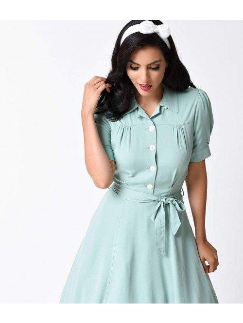 1940s Style Mint Shirt Waister Short Sleeve Swing Dress