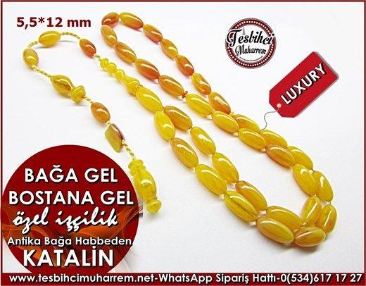 Özel İşçilik Antika Bağa Kayısı Bademi Kesim Katalin Tesbih 5,5*12 mm Bağa Gel Bostana GelÜrün Kodu: TM7947