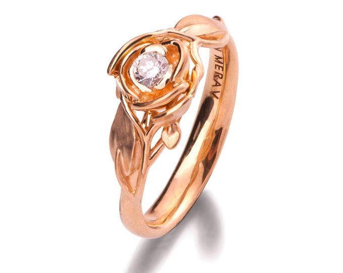 Rose Verlobungsring Nr. 3, 18 K Rose Gold und Diamant-Verlobungsring, blattring, Blumenring, Jugendstil, Schönheit und das Tier-Ring