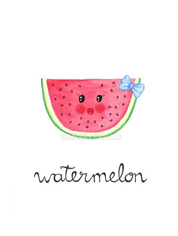 Watermelon fruit art print. Fruit nursery girls kids room art decor. Fruit watercolor painting Cute illustration Kitchen fruit food wall art