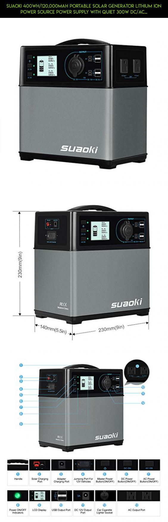 Suaoki 400Wh/120,000mAh Portable Solar Generator Lithium ion Power Source Power Supply with Quiet 300W DC/AC Inverter, 12V Car, DC/AC/USB Outputs, Charged by Solar Panel/AC Outlet/Cars #fpv #tech #shopping #gadgets #plans #storage #products #car #parts #battery #drone #kit #a #camera #technology #racing