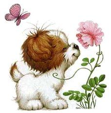 Vintage Card: Puppy & Butterfly