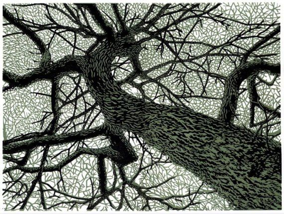 Winter Branches linocut.
