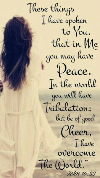 """These things I have spoken to you, that in Me you may have peace. In the world you will[a] have tribulation; but be of good cheer, I have overcome the world."""""""