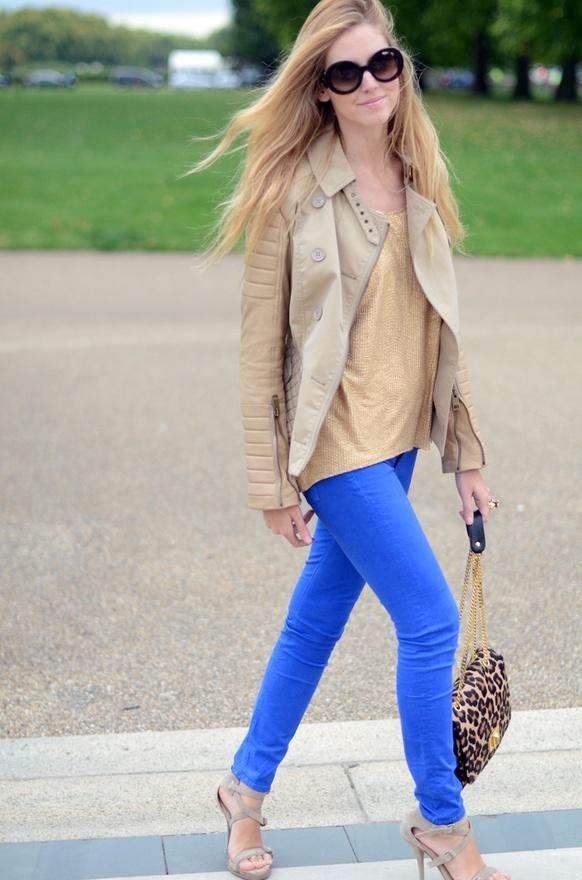 blue pants n beige top