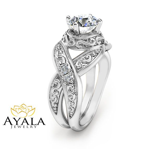 Unique 1 Carat Diamond Engagement Ring 14K White par AyalaDiamonds