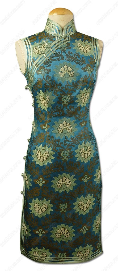 Jing Chinese Lotus Patterned Brocade Cheongsam