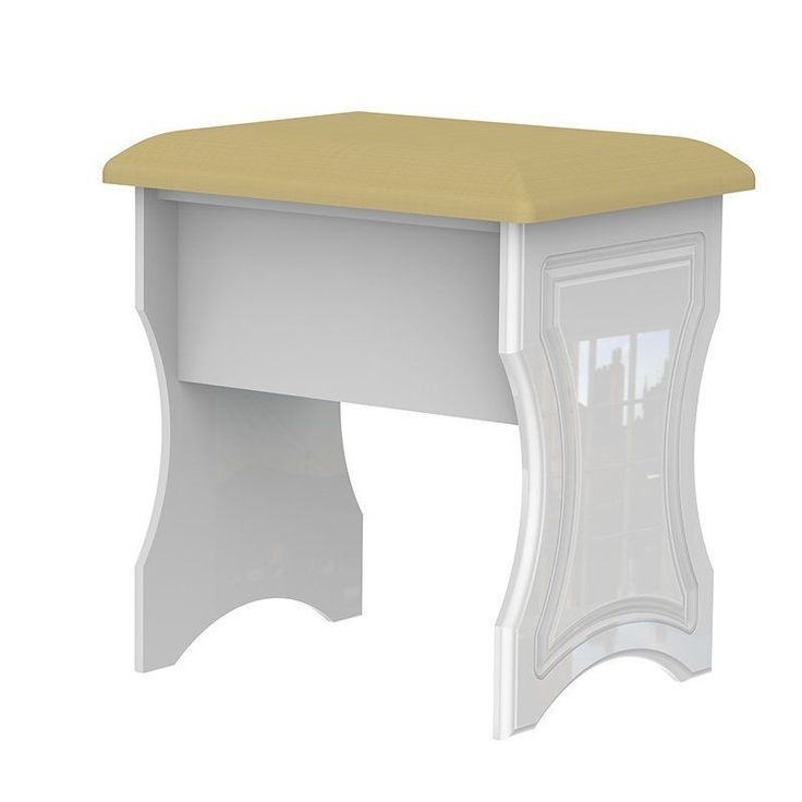 Dressing Table Stool White Base Yellow Polyester Foam Wooden Bedroom Furniture