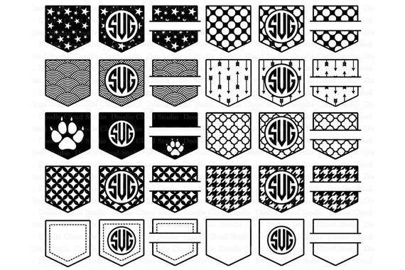 Shirt Pocket Monogram Svg Pocket Patterns Svg Files For Etsy Monogram Svg Pocket Pattern Card Pattern