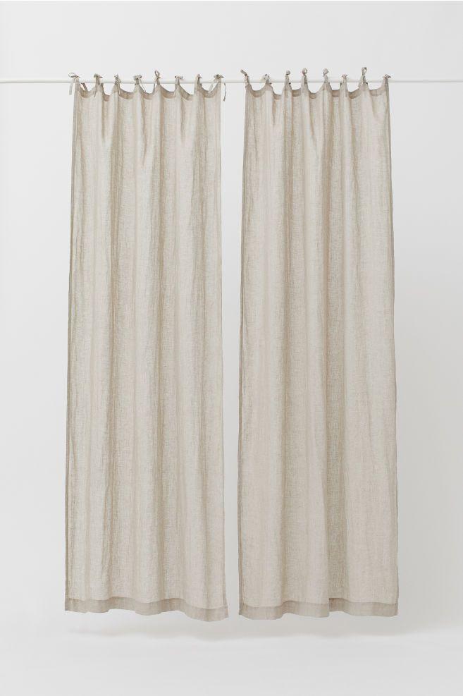 2 Pack Linen Curtain Panels Light Beige Home All H M Us 2