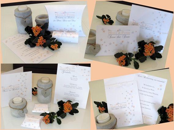 """Handgefertigte Hochzeitseinladung und Co: Streublumen in apricot und grau verteilen sich überall auf der Hochzeitspapeterie """"Blumenmeer""""."""