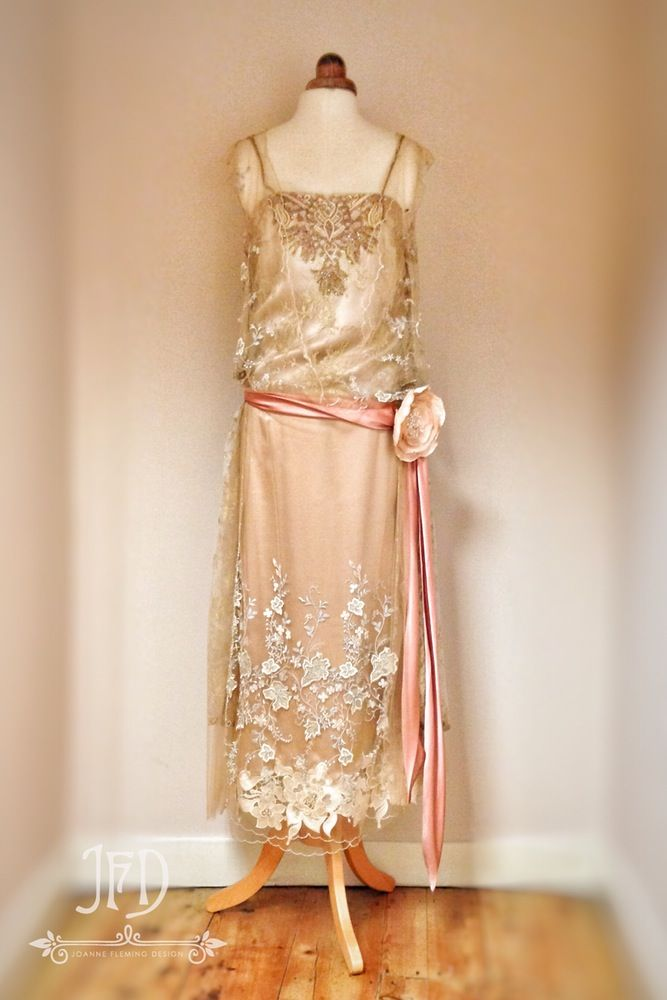 Image of SAMPLE SALE; 100% silk satin and embroidered tulle 1920s style wedding dress size UK10