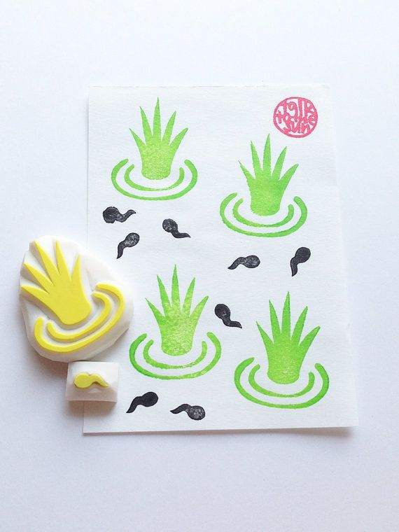 rice farm hand carved rubber stamps. rice crop by talktothesun