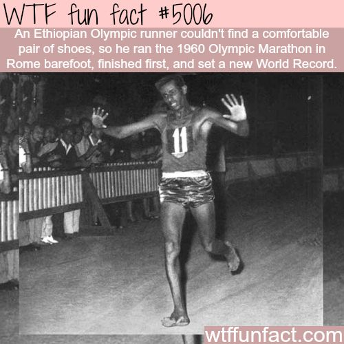 Ethiopian Olympic runner set a word record, running barefoot - WTF fun facts
