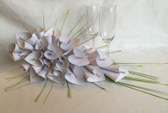 White lily bridal bouquet paper flower cascade by DianaSianCrafts