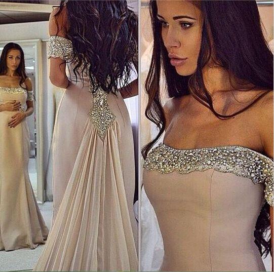 Sparkling Off the Shoulder Prom Dresses Chiffon Mermaid Evening Dresses Beads…