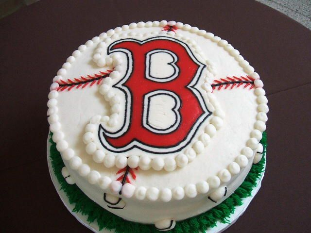 "This is a Boston Red Sox chocolate cake with bavariam cream filling, covered with BC. The ""B"" I made using FBCT method. Thanks for looking. :)"