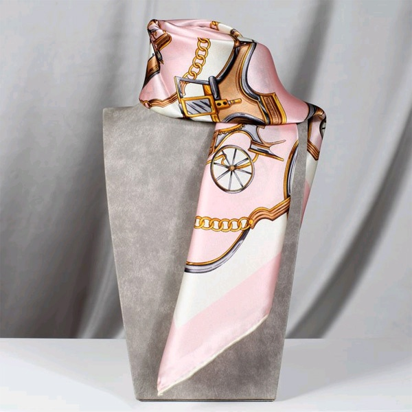 Women Square Silk Satin Scarf In Hot Pink