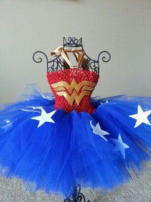 Wonder Woman Tutu Halloween Costume Baby Costume by Kutiebowtuties